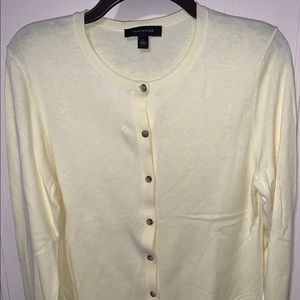 Ann Taylor pale yellow cardigan sweater Size Large